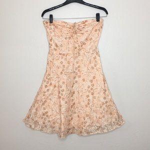 J crew sweet pink floral strapless a line dress 2